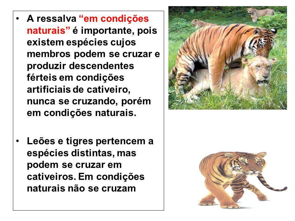 A ressalva em condições naturais é importante, pois existem espécies cujos membros podem se cruzar e produzir descendentes férteis em condições artifi