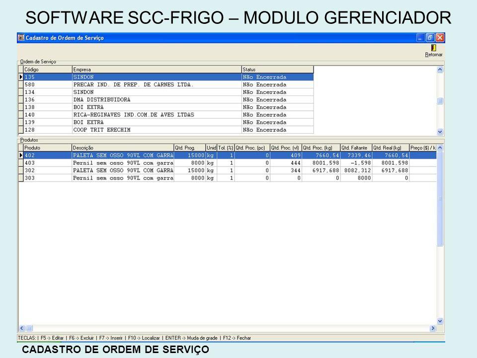 CADASTRO DE ORDEM DE SERVIÇO SOFTWARE SCC-FRIGO – MODULO GERENCIADOR
