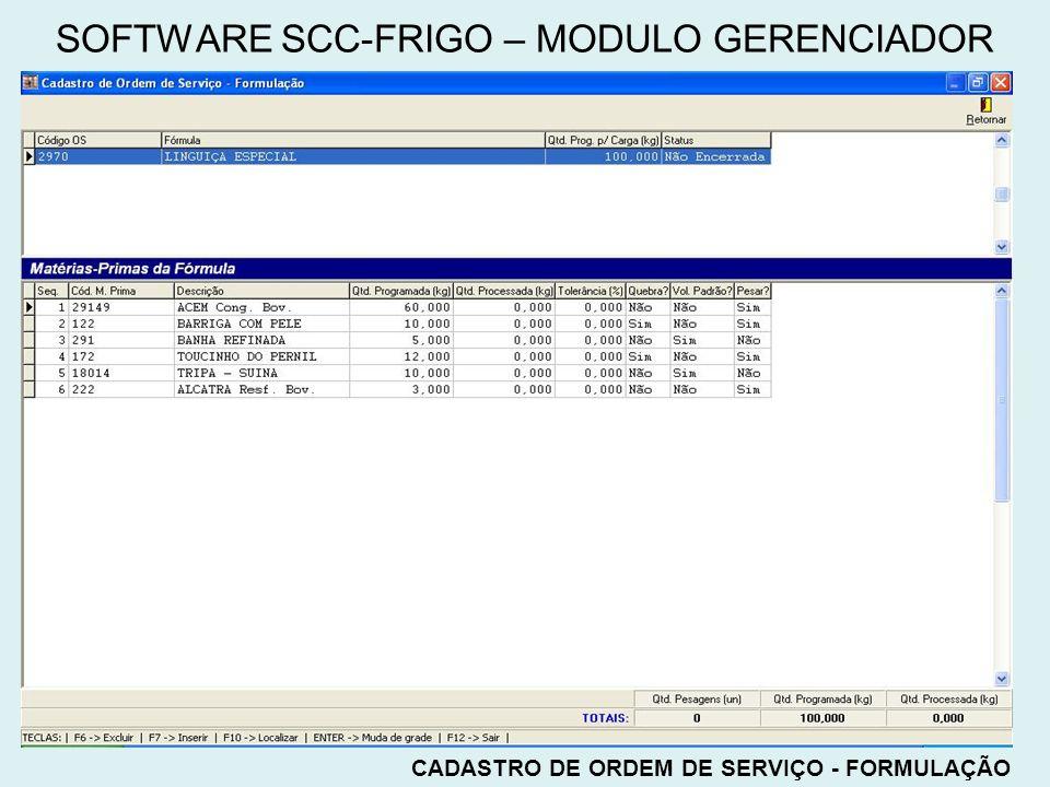 CADASTRO DE ORDEM DE SERVIÇO - FORMULAÇÃO SOFTWARE SCC-FRIGO – MODULO GERENCIADOR