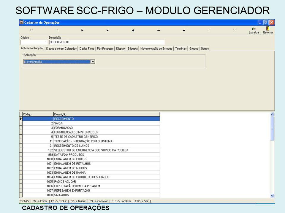 CADASTRO DE OPERAÇÕES SOFTWARE SCC-FRIGO – MODULO GERENCIADOR