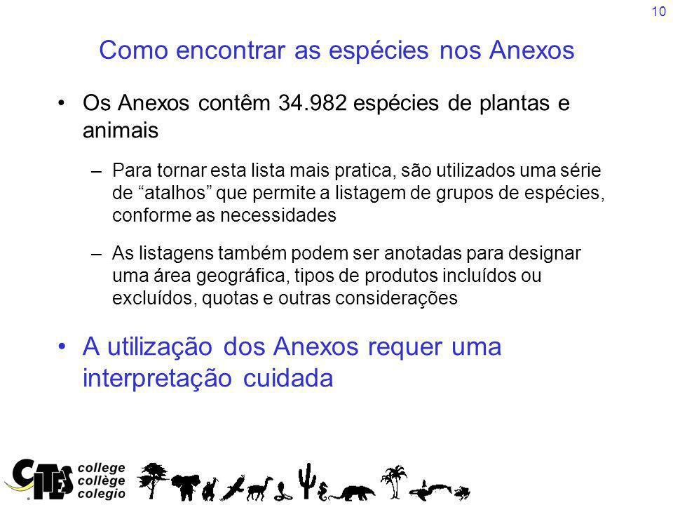 10 Como encontrar as espécies nos Anexos Os Anexos contêm 34.982 espécies de plantas e animais –Para tornar esta lista mais pratica, são utilizados um