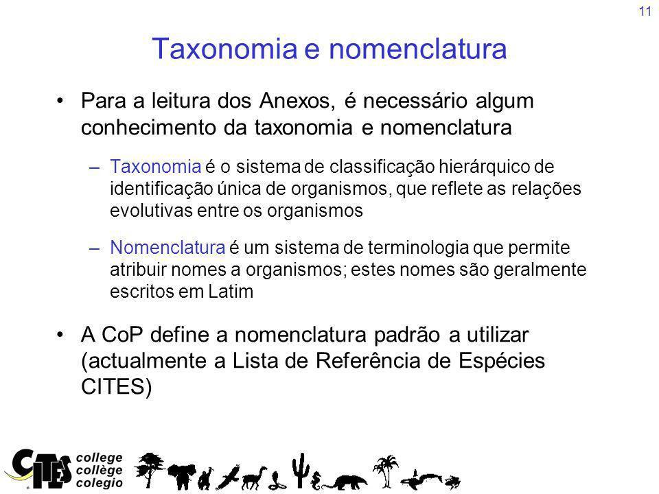 11 Taxonomia e nomenclatura Para a leitura dos Anexos, é necessário algum conhecimento da taxonomia e nomenclatura –Taxonomia é o sistema de classific