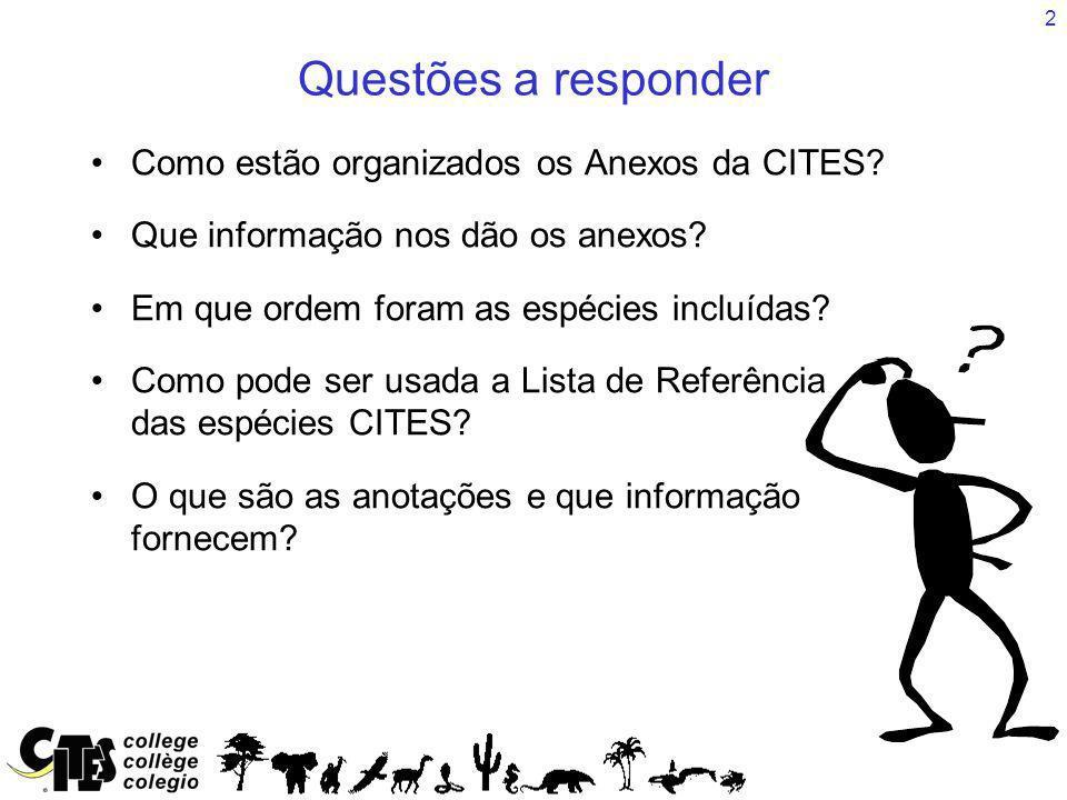 2 Questões a responder Como estão organizados os Anexos da CITES? Que informação nos dão os anexos? Em que ordem foram as espécies incluídas? Como pod