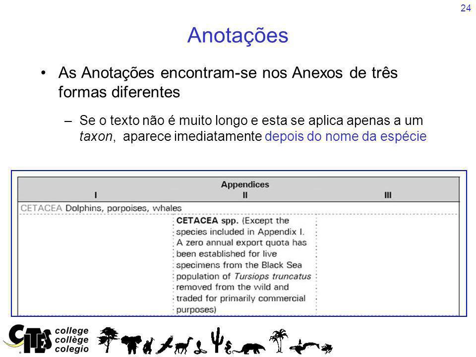 24 Anotações As Anotações encontram-se nos Anexos de três formas diferentes –Se o texto não é muito longo e esta se aplica apenas a um taxon, aparece