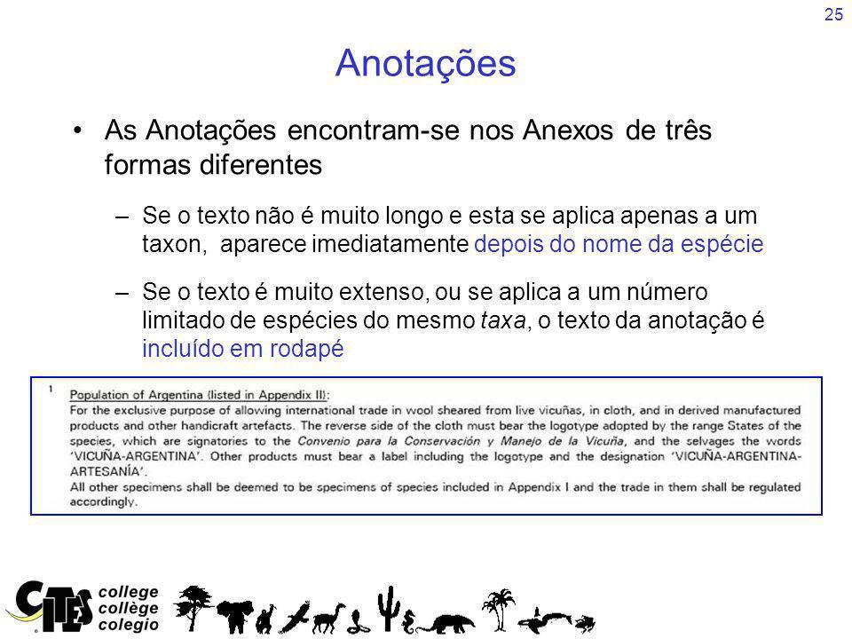 25 Anotações As Anotações encontram-se nos Anexos de três formas diferentes –Se o texto não é muito longo e esta se aplica apenas a um taxon, aparece
