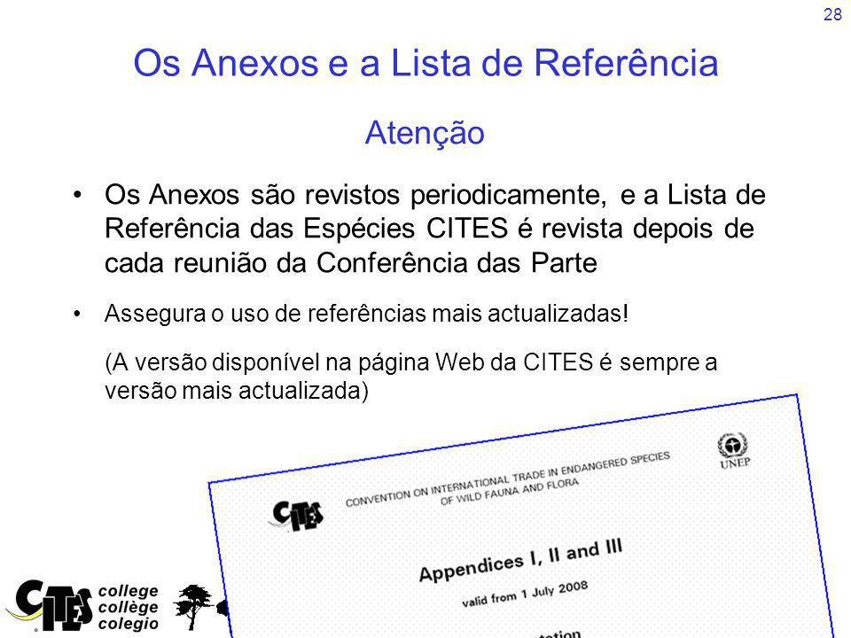 28 Os Anexos e a Lista de Referência Atenção Os Anexos são revistos periodicamente, e a Lista de Referência das Espécies CITES é revista depois de cad