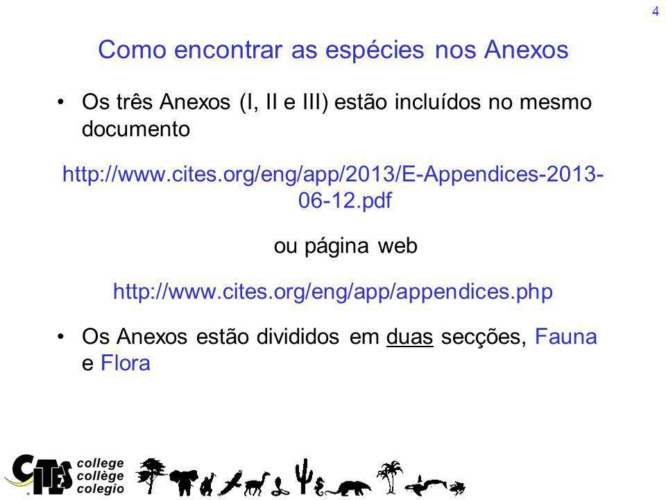 4 Os três Anexos (I, II e III) estão incluídos no mesmo documento http://www.cites.org/eng/app/2013/E-Appendices-2013- 06-12.pdf ou página web http://