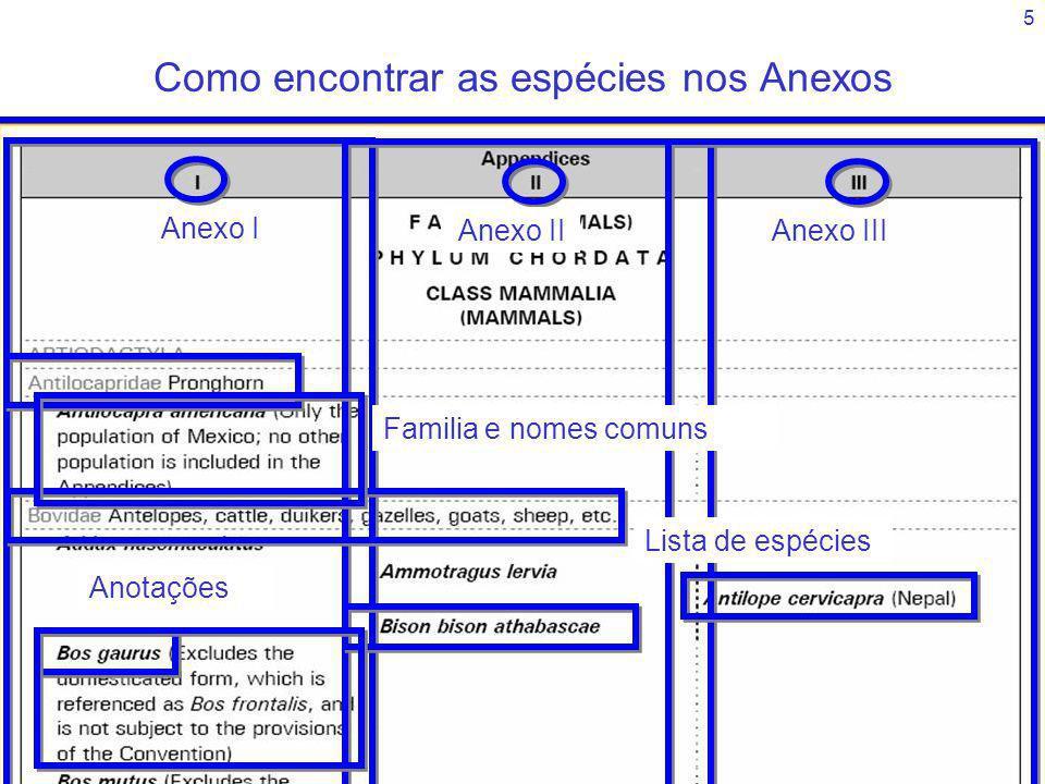 5 Anexo I Anexo IIAnexo III Familia e nomes comuns Lista de espécies Anotações