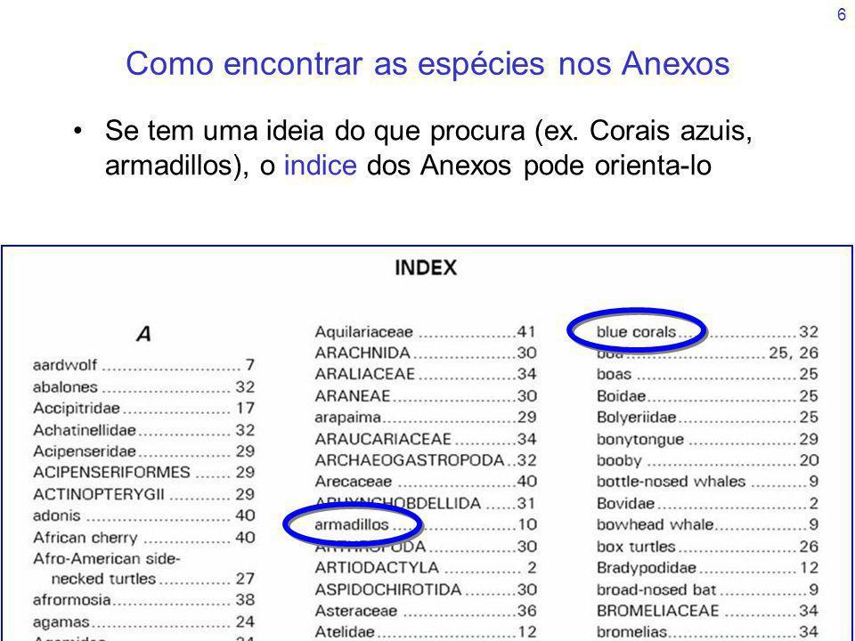 6 Como encontrar as espécies nos Anexos Se tem uma ideia do que procura (ex. Corais azuis, armadillos), o indice dos Anexos pode orienta-lo