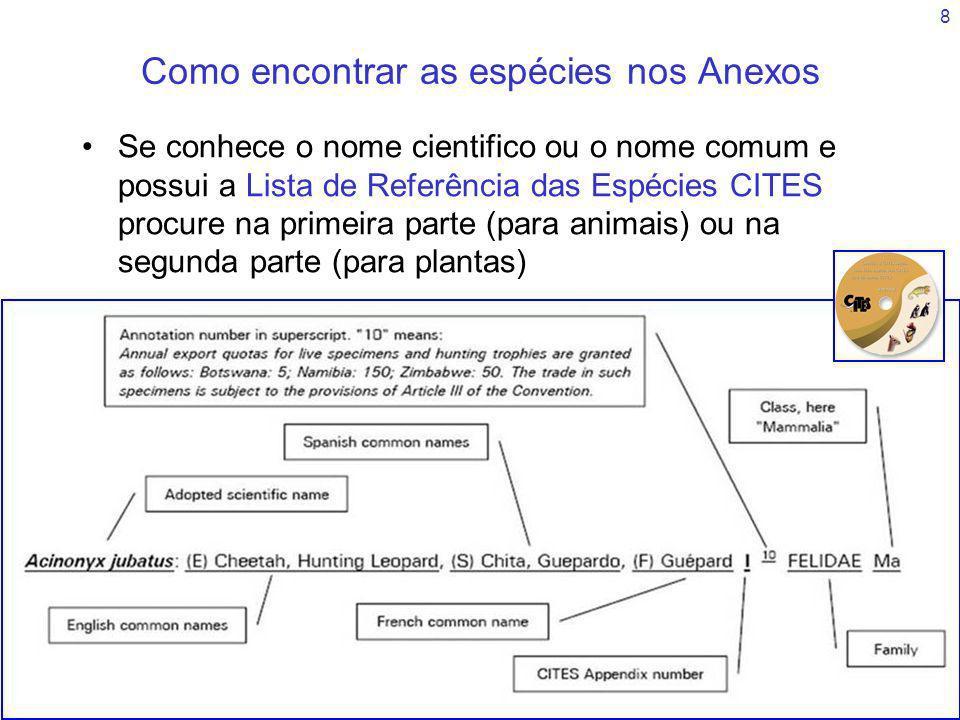 29 Resumo Os Anexos seguem uma hierarquia taxonómica para os animais e uma lista de famílias por ordem alfabética para as plantas As espécies podem estar incluídas em conjunto em listas taxonómicas superiores (Ordem, Família, Género) A listagem pode ser anotada, fornecendo informação especifica de como a espécie é tratada pela CITES Pessoas que não sejam especialistas podem achar difícil a leitura e interpretação dos anexos A lista de Referência de espécies CITES é mais facil de utilizar que os Anexos, mas não é actualizada tão frequentemente