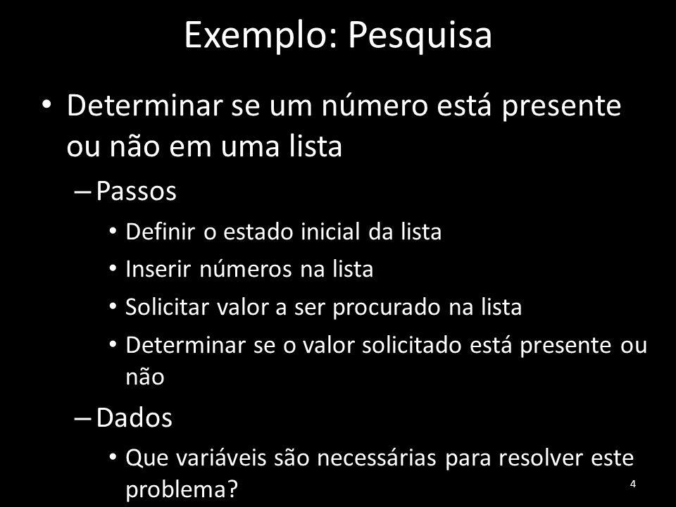 Exemplo: Pesquisa Determinar se um número está presente ou não em uma lista – Passos Definir o estado inicial da lista Inserir números na lista Solici