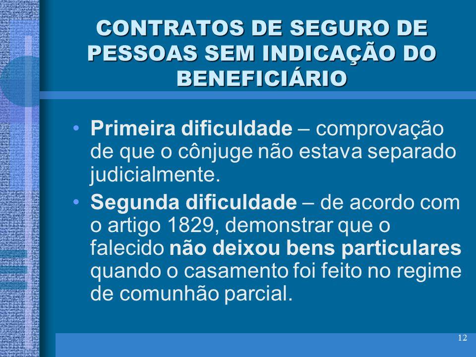 12 CONTRATOS DE SEGURO DE PESSOAS SEM INDICAÇÃO DO BENEFICIÁRIO Primeira dificuldade – comprovação de que o cônjuge não estava separado judicialmente.