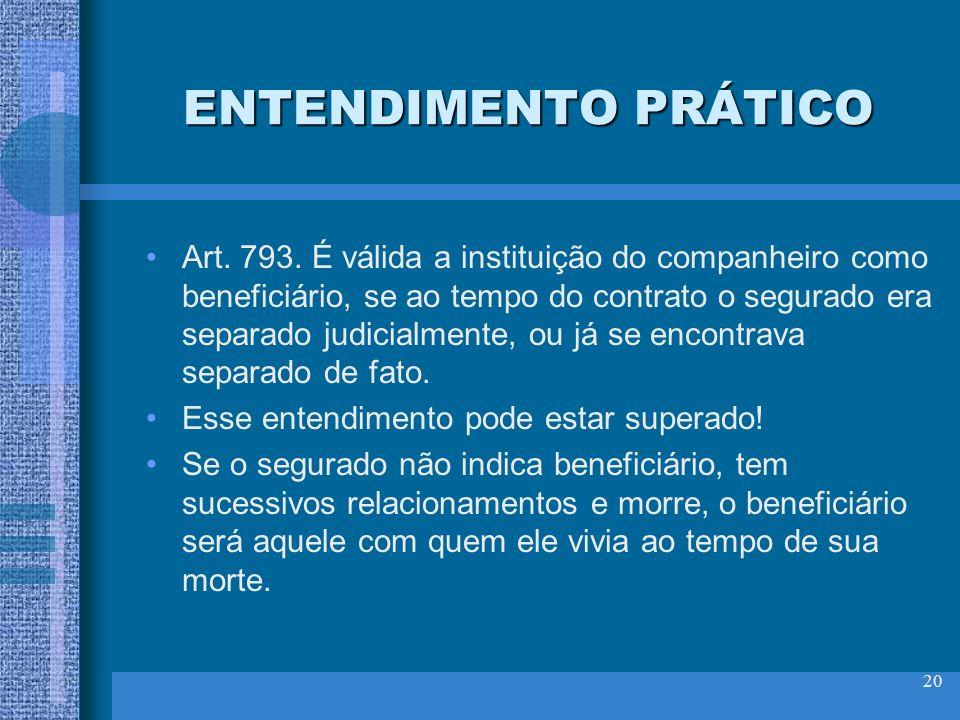 ENTENDIMENTO PRÁTICO Art. 793. É válida a instituição do companheiro como beneficiário, se ao tempo do contrato o segurado era separado judicialmente,