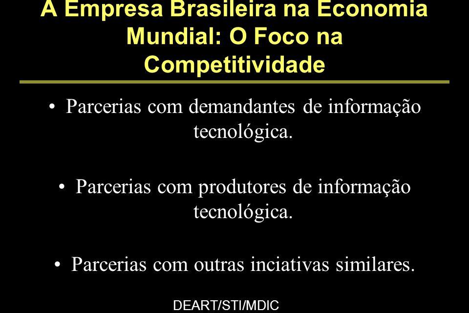 Discussão setorial organizada por cadeia produtiva Maior uso da infra-estrutura de informação tecnológica Maior realimentação para produtores de informações tecnológicas Maior base informacional no país A Empresa Brasileira na Economia Mundial: O Foco na Competitividade DEART/STI/MDIC