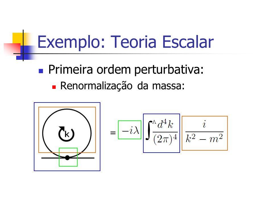 Exemplo: Teoria Escalar Primeira ordem perturbativa: Renormalização da massa: =