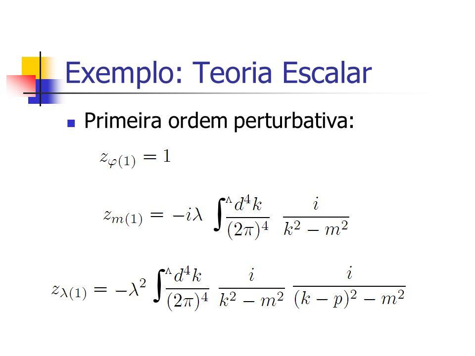 Exemplo: Teoria Escalar Primeira ordem perturbativa: