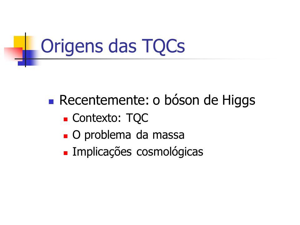 Origens das TQCs Recentemente: o bóson de Higgs Contexto: TQC O problema da massa Implicações cosmológicas