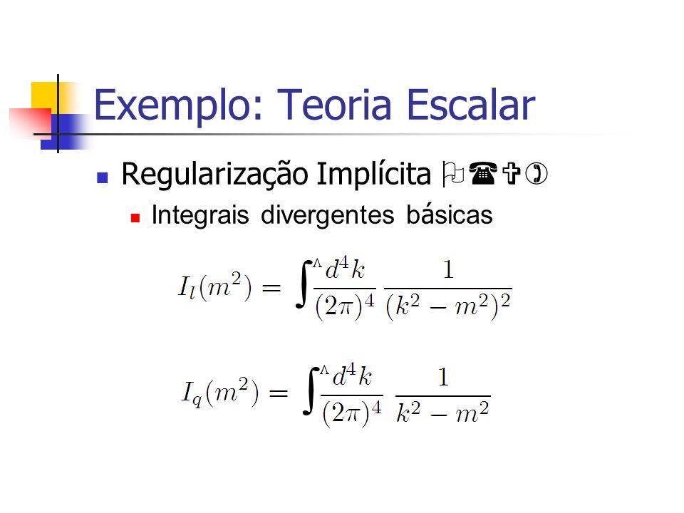 Exemplo: Teoria Escalar Regularização Implícita O(V) Integrais divergentes b á sicas