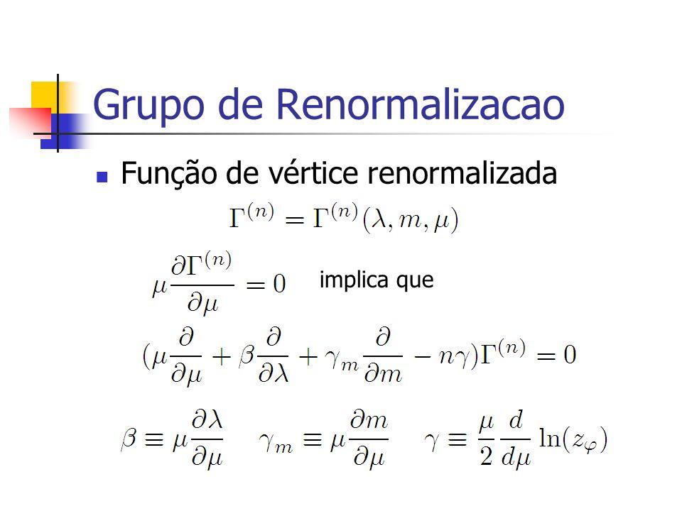 Grupo de Renormalizacao Função de vértice renormalizada implica que