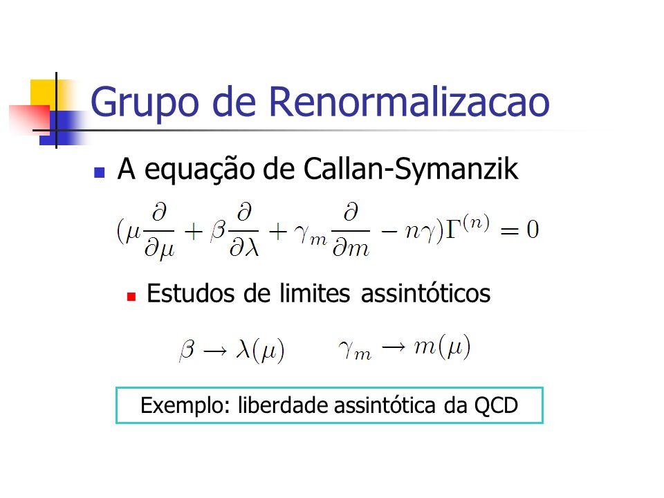 Grupo de Renormalizacao A equação de Callan-Symanzik Estudos de limites assintóticos Exemplo: liberdade assintótica da QCD
