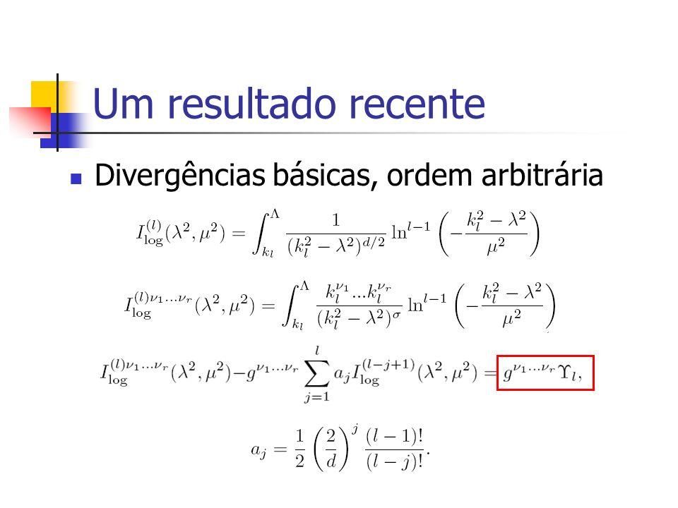 Um resultado recente Divergências básicas, ordem arbitrária