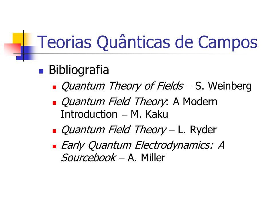Teorias Quânticas de Campos Bibliografia Quantum Theory of Fields – S. Weinberg Quantum Field Theory: A Modern Introduction – M. Kaku Quantum Field Th