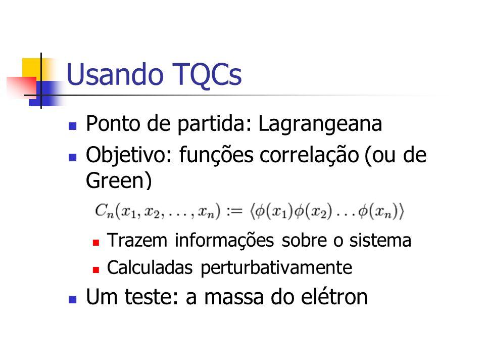 Usando TQCs Ponto de partida: Lagrangeana Objetivo: funções correlação (ou de Green) Trazem informações sobre o sistema Calculadas perturbativamente U