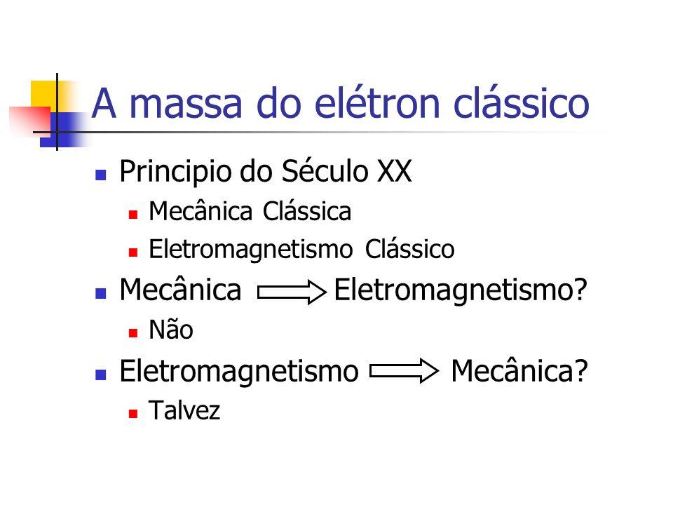 A massa do elétron clássico Principio do Século XX Mecânica Clássica Eletromagnetismo Clássico Mecânica Eletromagnetismo? Não Eletromagnetismo Mecânic
