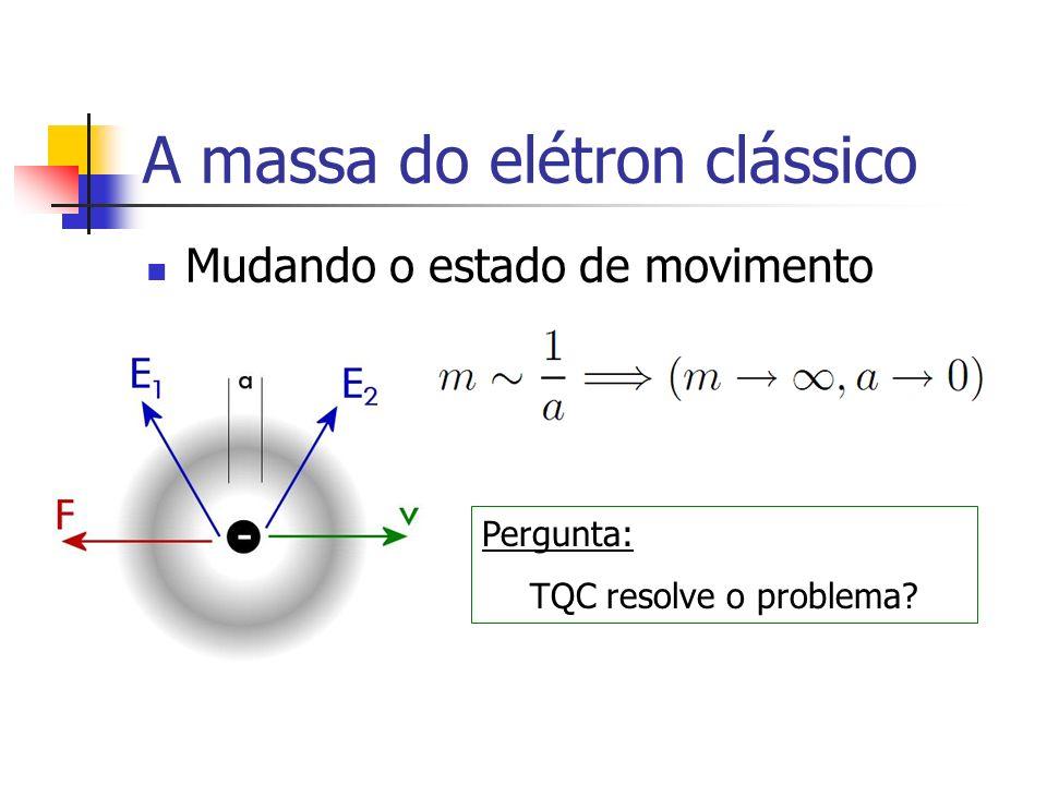 A massa do elétron clássico Mudando o estado de movimento Pergunta: TQC resolve o problema?