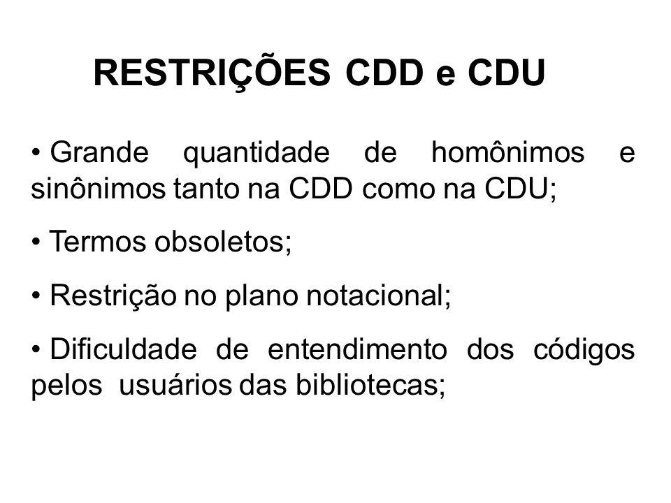 RESTRIÇÕES CDD e CDU Grande quantidade de homônimos e sinônimos tanto na CDD como na CDU; Termos obsoletos; Restrição no plano notacional; Dificuldade de entendimento dos códigos pelos usuários das bibliotecas;