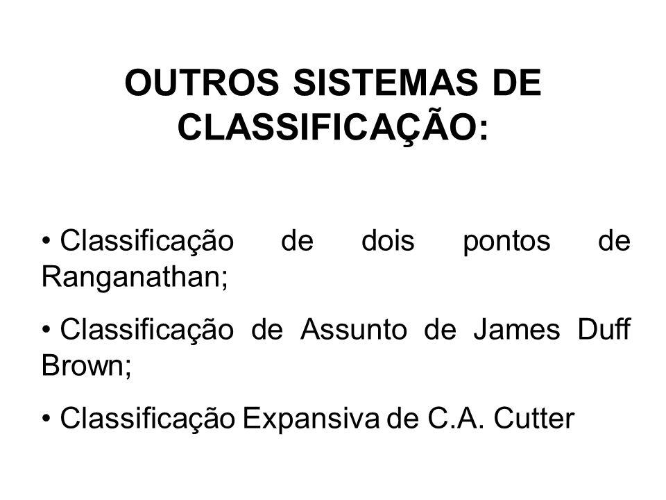 OUTROS SISTEMAS DE CLASSIFICAÇÃO: Classificação de dois pontos de Ranganathan; Classificação de Assunto de James Duff Brown; Classificação Expansiva de C.A.