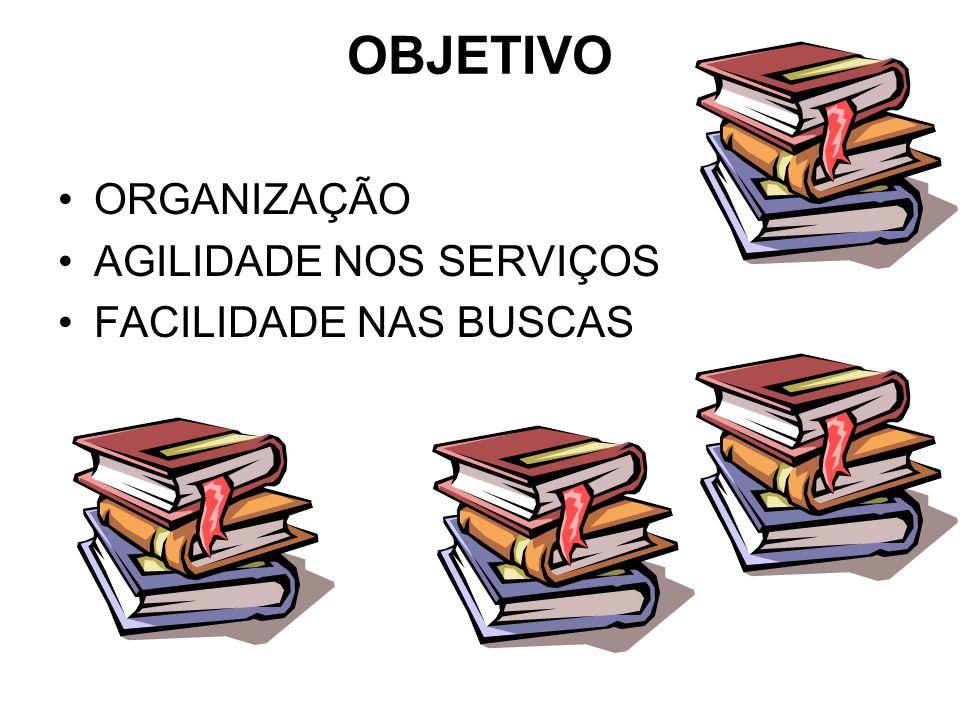 OBJETIVO ORGANIZAÇÃO AGILIDADE NOS SERVIÇOS FACILIDADE NAS BUSCAS