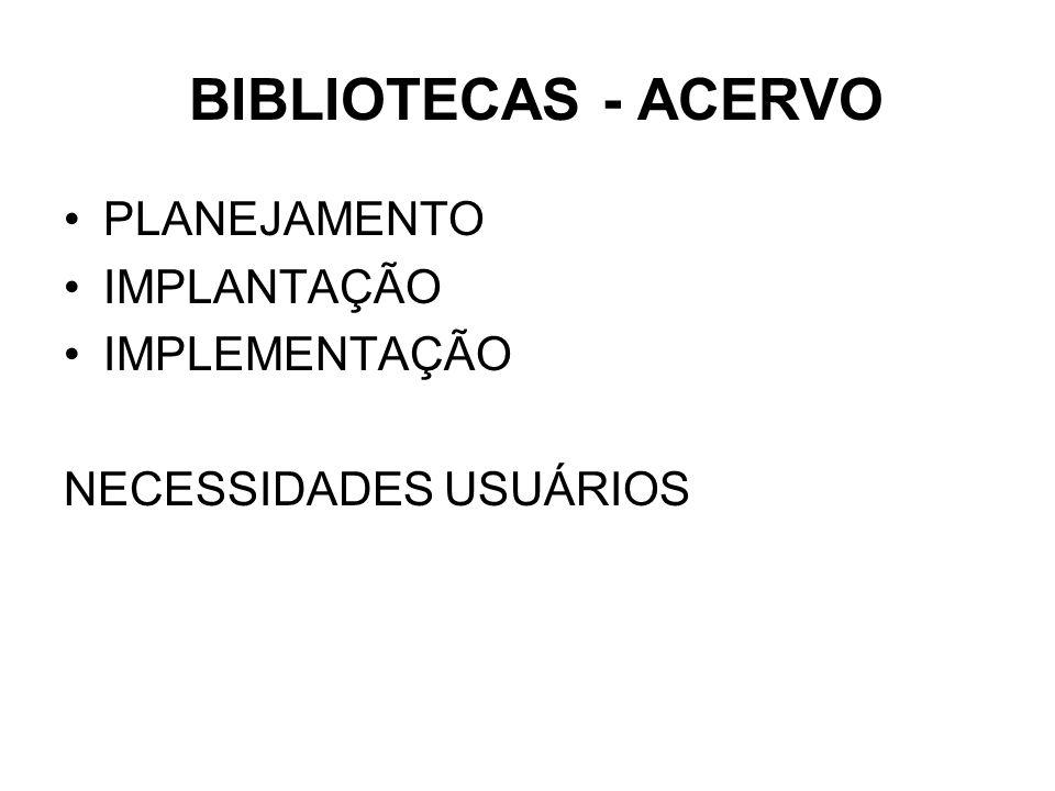 BIBLIOTECAS - ACERVO PLANEJAMENTO IMPLANTAÇÃO IMPLEMENTAÇÃO NECESSIDADES USUÁRIOS