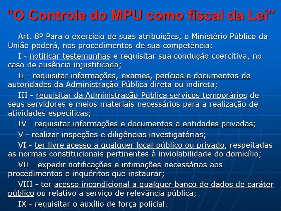 O Controle do MPU como fiscal da Lei Art.