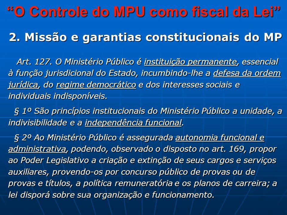 O Controle do MPU como fiscal da Lei 2. Missão e garantias constitucionais do MP Art.