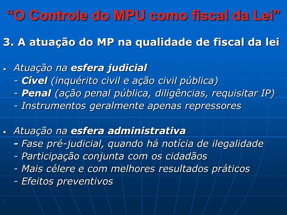3. A atuação do MP na qualidade de fiscal da lei Atuação na esfera judicial Atuação na esfera judicial - Cível (inquérito civil e ação civil pública)