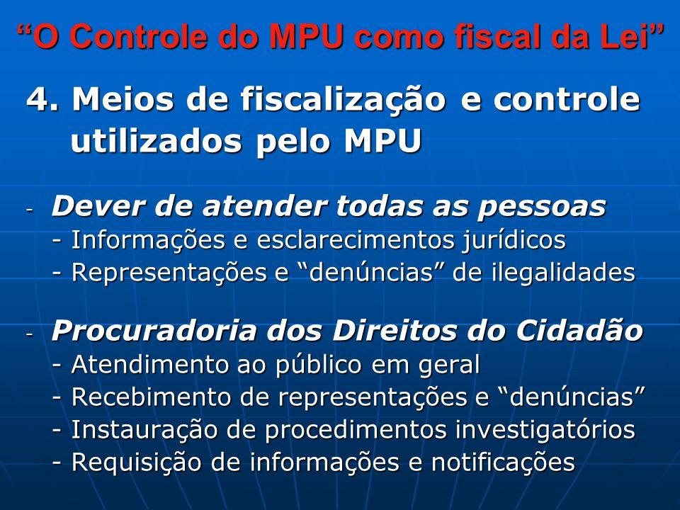4.Meios de fiscalização e controle utilizados pelo MPU utilizados pelo MPU Art.