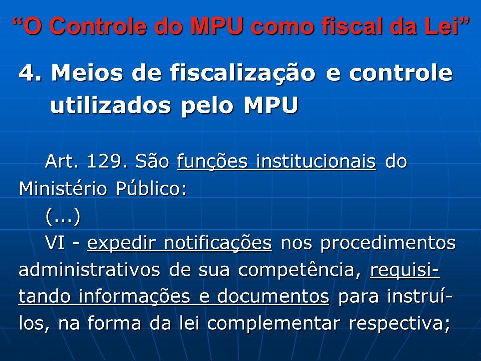 4. Meios de fiscalização e controle utilizados pelo MPU utilizados pelo MPU Art.