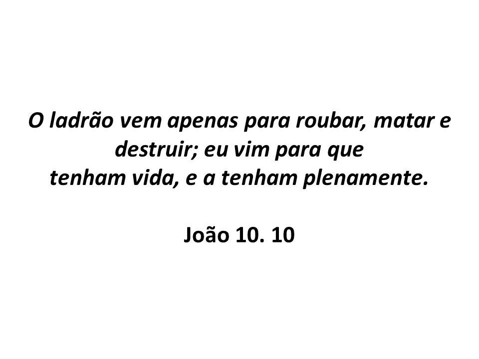 O ladrão vem apenas para roubar, matar e destruir; eu vim para que tenham vida, e a tenham plenamente. João 10. 10