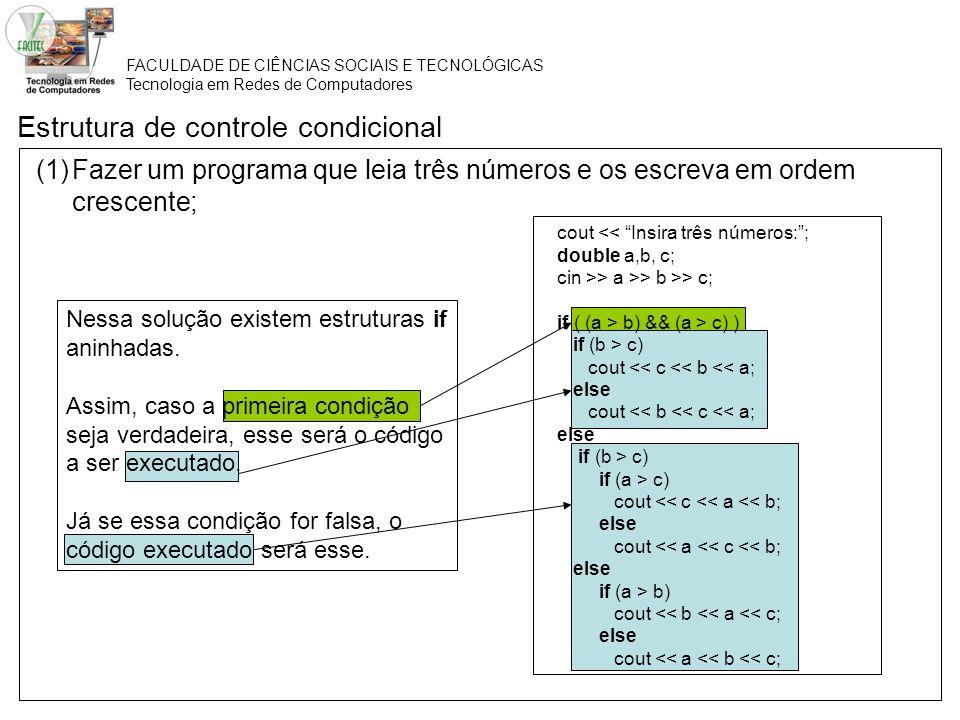 FACULDADE DE CIÊNCIAS SOCIAIS E TECNOLÓGICAS Tecnologia em Redes de Computadores Estrutura de controle condicional (1)Fazer um programa que leia três