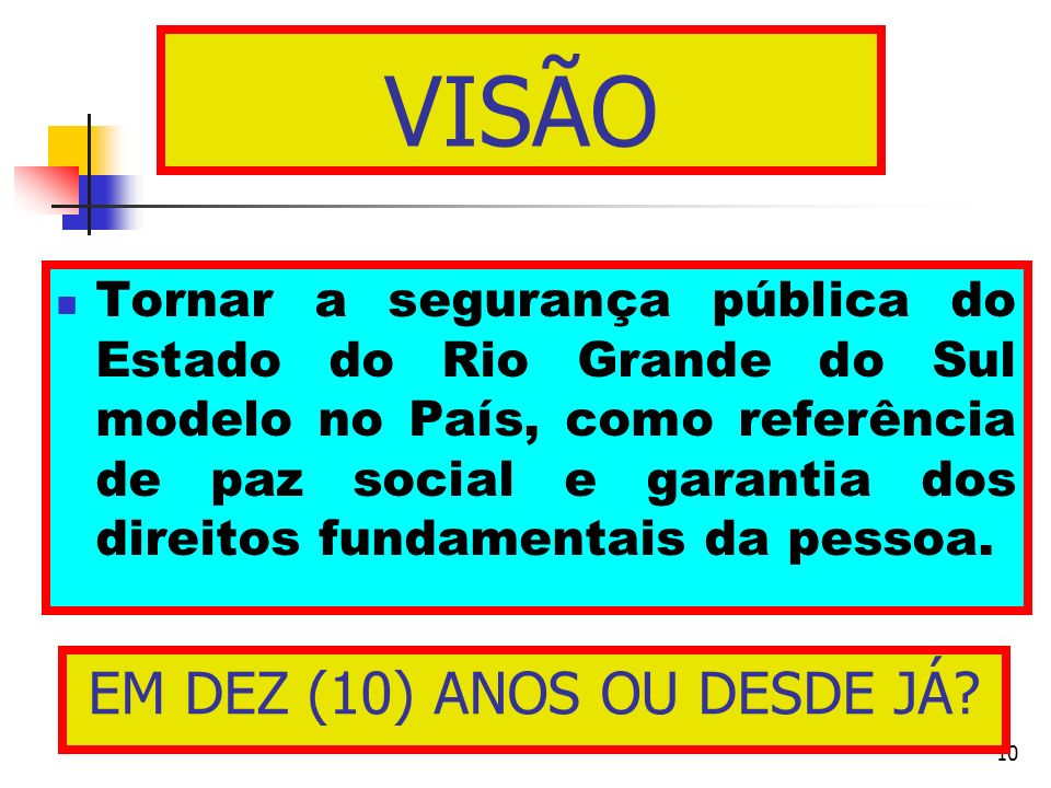 10 Tornar a segurança pública do Estado do Rio Grande do Sul modelo no País, como referência de paz social e garantia dos direitos fundamentais da pes