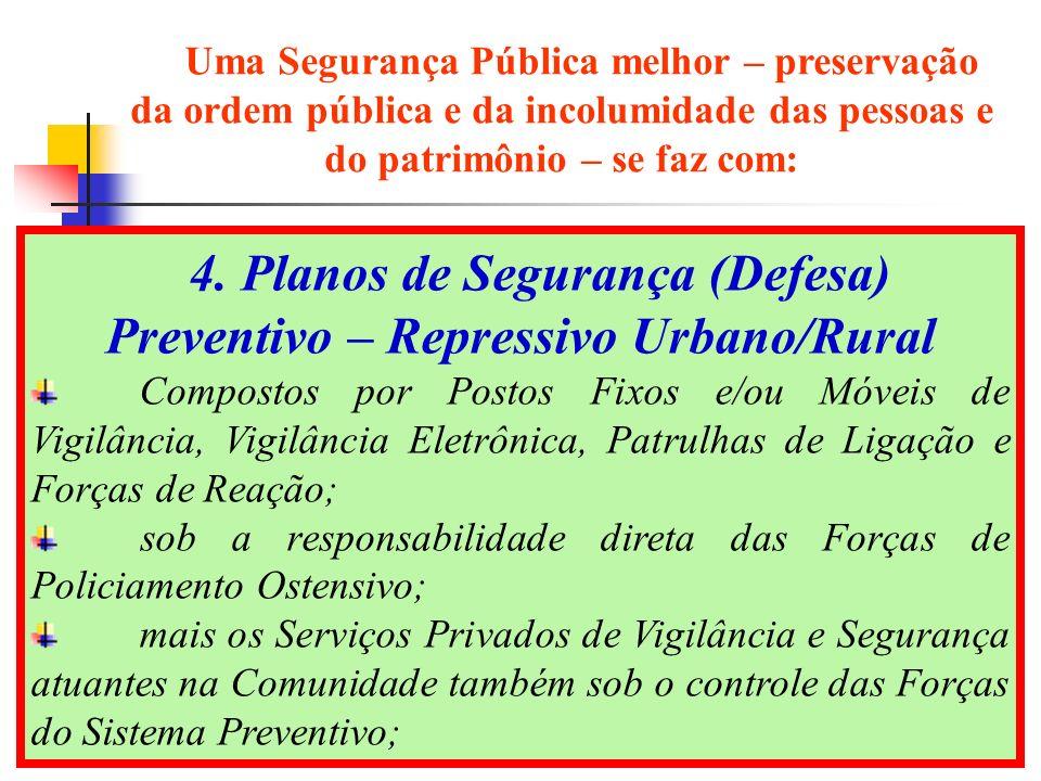 19 4. Planos de Segurança (Defesa) Preventivo – Repressivo Urbano/Rural Compostos por Postos Fixos e/ou Móveis de Vigilância, Vigilância Eletrônica, P