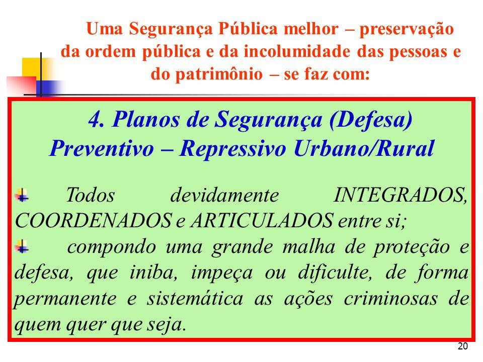 20 4. Planos de Segurança (Defesa) Preventivo – Repressivo Urbano/Rural Todos devidamente INTEGRADOS, COORDENADOS e ARTICULADOS entre si; compondo uma