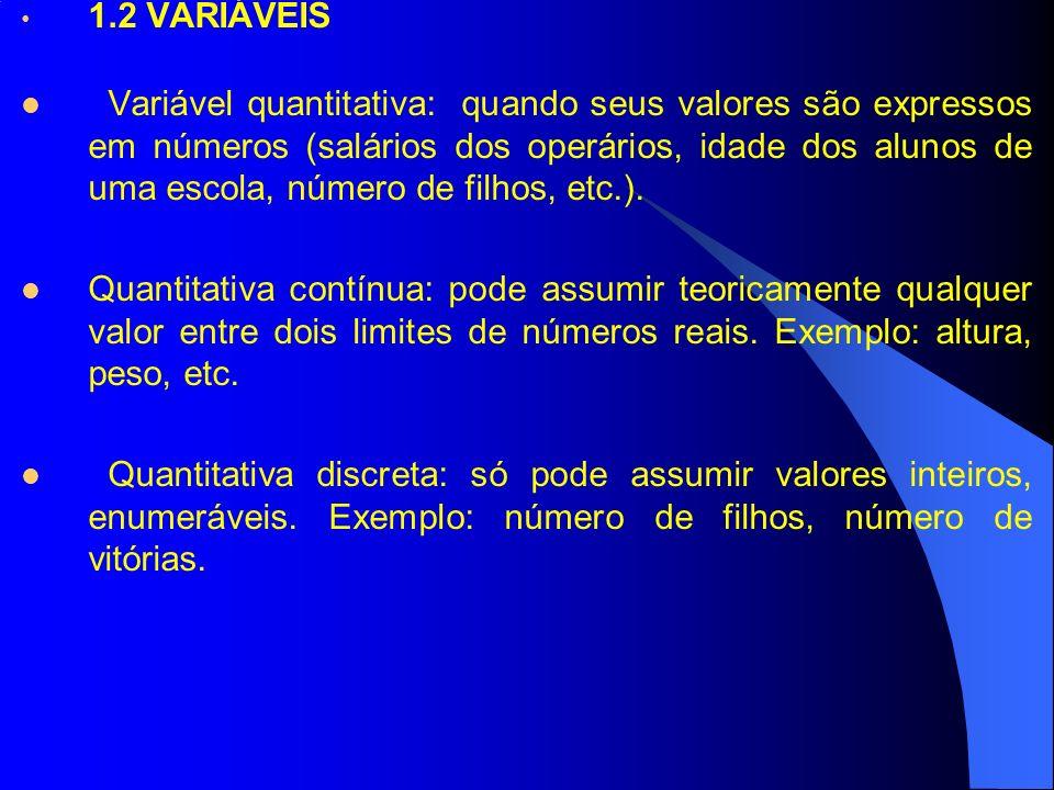 1.2 VARIÁVEIS Variável quantitativa: quando seus valores são expressos em números (salários dos operários, idade dos alunos de uma escola, número de f