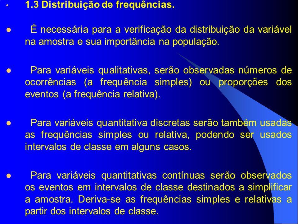 1.3 Distribuição de frequências. É necessária para a verificação da distribuição da variável na amostra e sua importância na população. Para variáveis