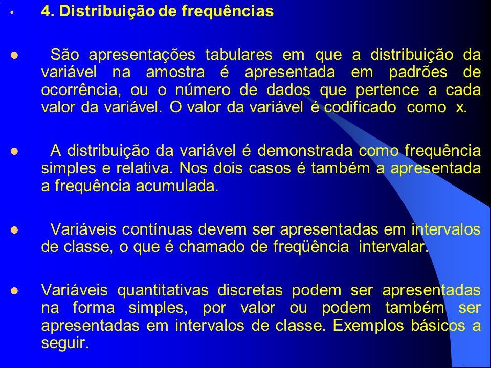 4. Distribuição de frequências São apresentações tabulares em que a distribuição da variável na amostra é apresentada em padrões de ocorrência, ou o n