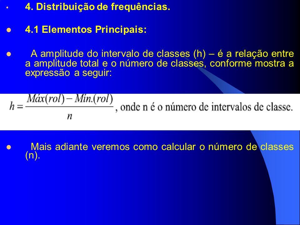 4. Distribuição de frequências. 4.1 Elementos Principais: A amplitude do intervalo de classes (h) – é a relação entre a amplitude total e o número de