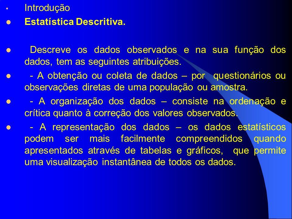 Introdução Estatística Descritiva. Descreve os dados observados e na sua função dos dados, tem as seguintes atribuições. - A obtenção ou coleta de dad