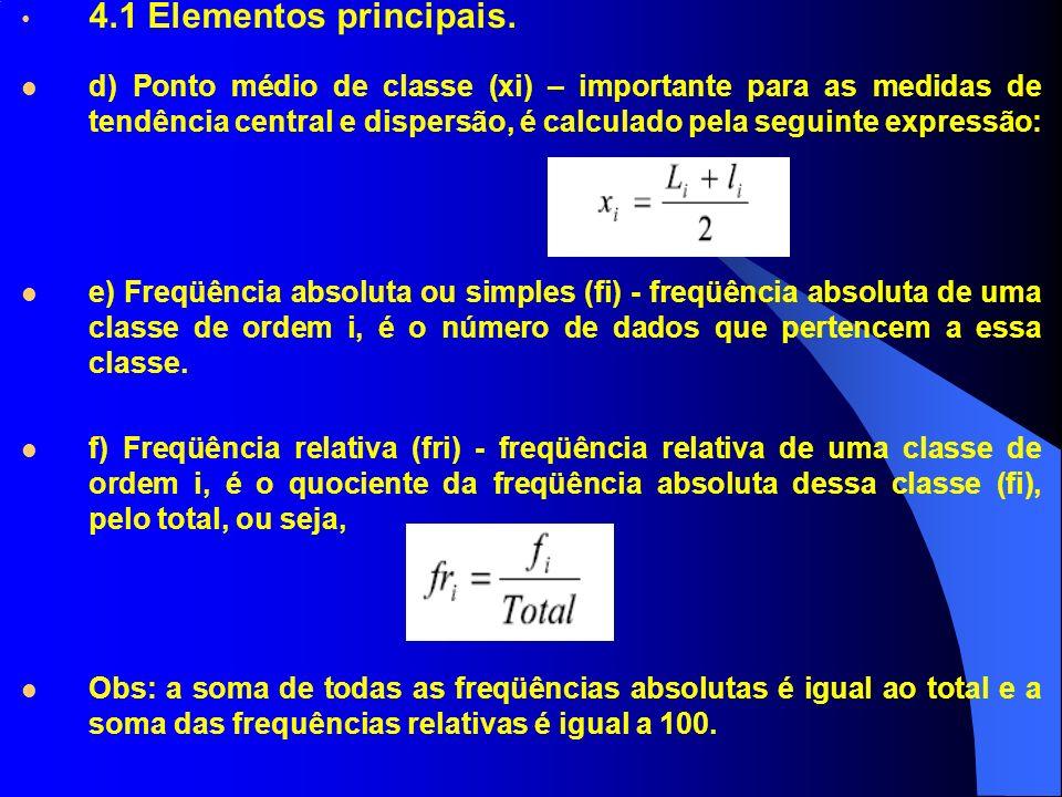 4.1 Elementos principais. d) Ponto médio de classe (xi) – importante para as medidas de tendência central e dispersão, é calculado pela seguinte expre