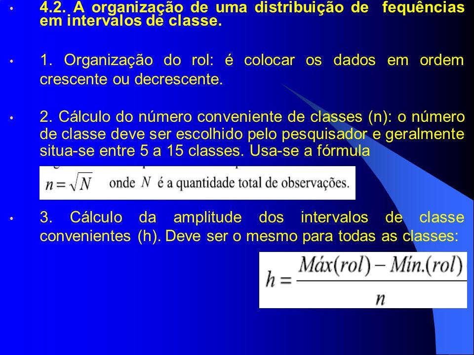 4.2. A organização de uma distribuição de fequências em intervalos de classe. 1. Organização do rol: é colocar os dados em ordem crescente ou decresce